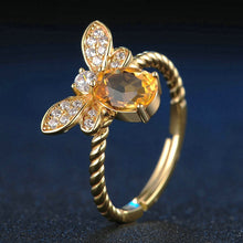 Load image into Gallery viewer, 1ct Natural Citrine 925 Sterling Silver 14K Gold Plated Ring - hope2shop