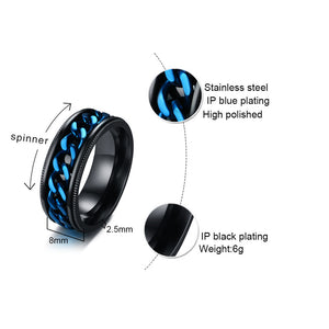 Men's FIDGET Black Rings with Stainless Steel