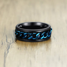 Load image into Gallery viewer, Men's FIDGET Black Rings with Stainless Steel