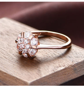 Flower Zircon Wedding Rings