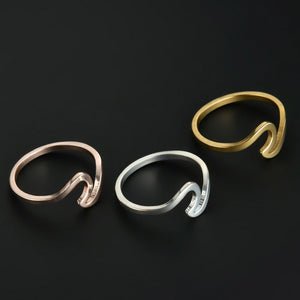 Mossovy Wave Alloy Silver Rings Charms Rose Gold Ring Wedding Rings for Women Minimalist Jewelry Bague Femme Anillos Mujer - hope2shop