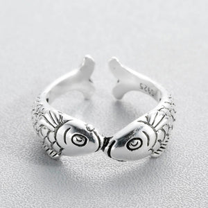 Lovely Double Fish Adjustable Rings