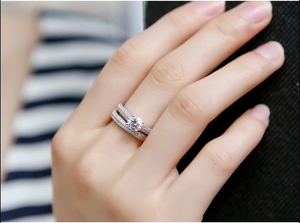 Luxury Female White Bridal Wedding Ring