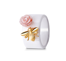 Load image into Gallery viewer, Ceramic Silver Bee Ring