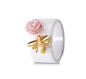 Ceramic Silver Bee Ring