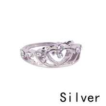 Load image into Gallery viewer, Heart Crown Shaped Gold Silver Ring