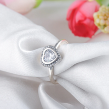Load image into Gallery viewer, Silver Sparkling Heart Shape Engagement Ring