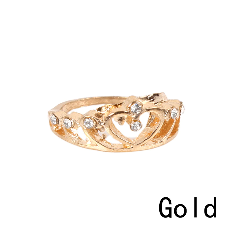 Heart Crown Shaped Gold Silver Ring