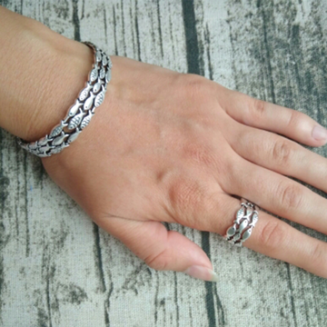 Silver Fish Bracelet & Ring Set - Resizable
