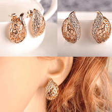 Load image into Gallery viewer, Hollow Leaf Gold Color Rhinestone Earrings