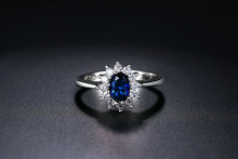 Load image into Gallery viewer, Blue Crystal Silver Color Wedding Finger Ring