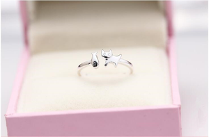925 Sterling Silver Happy Cat Eating Fish Ring