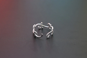 Silver Irregular Vine Open Rings