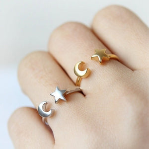 Midi Crescent Moon and Tiny Star Open Rings for Women