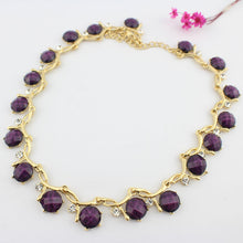 Load image into Gallery viewer, Gold Color  Necklace Purple Earrings Sets