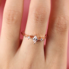 Engagement Ring for Women Three Stone Cluster Bridal