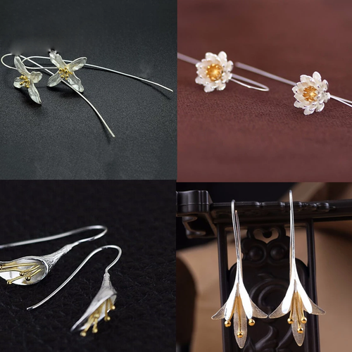 Silver Long Flower Earrings Jewelry