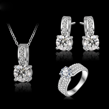Load image into Gallery viewer, Silver Wedding Jewelry Sets