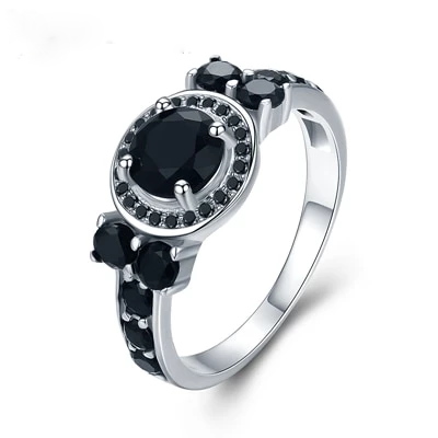 Round Bague Black Sterling Silver Fine Wedding Ring