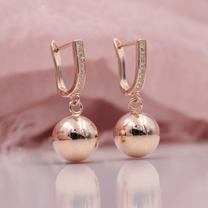 Rose Gold Spherical  Dangle Earrings