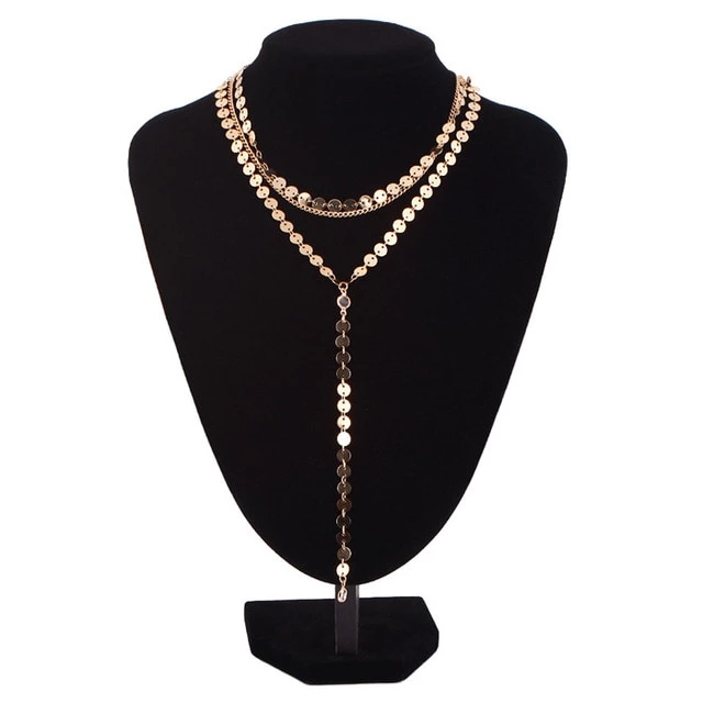 Multilayer Crystal Rhinestone Pendants Chain Necklace