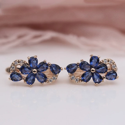 Rose Gold Petal Blue Earrings