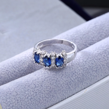 Load image into Gallery viewer, Sterling Silver Blue Sapphire Rings