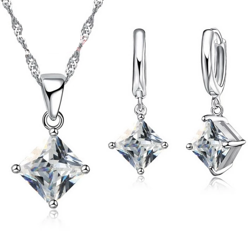 Cubic Zircon 3D Square Silver Necklace