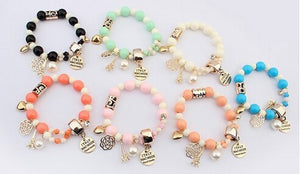 Wrap Cuff Charms Crystal Pearl Beads Hearts Elastic Force Bracelet