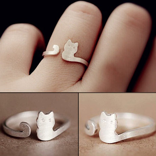 Cat Sliver Plated Open Adjustable Ring