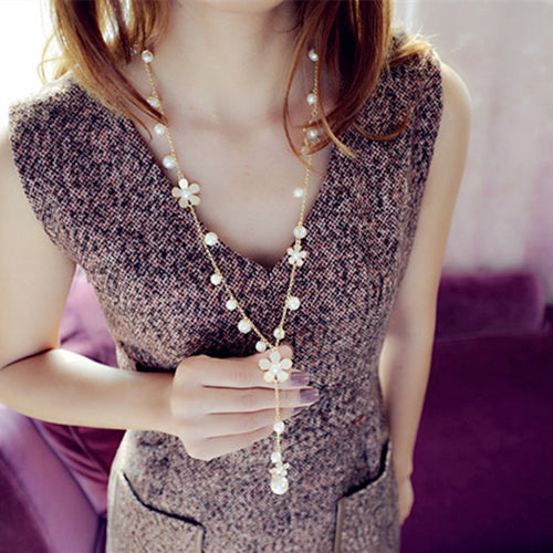Flower Long Pearl Jewelry Tassel Perlas Necklaces