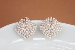 Crystal Rhinestone Pearl Stud Earrings