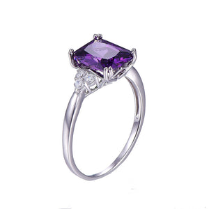 Vintage Sterling Silver Ring emerald Cut Purple Nature stone Women