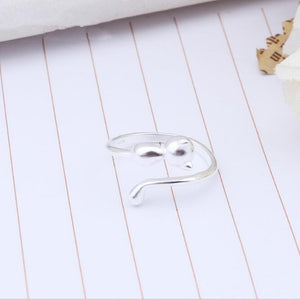 Silver Aesthetic Small Cat Opening Ring
