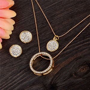 gold Crystal Rhinestone Hollow necklace pendant earrings jewelry sets