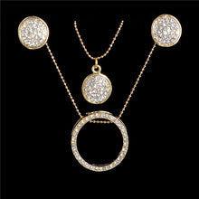 Load image into Gallery viewer, Gold Crystal Rhinestone Necklace & Earrings