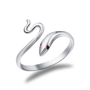 Red Eyes Snake Alloy Crystal Rings
