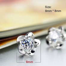 Load image into Gallery viewer, Silver Color Zircon Enamel Flower Earrings