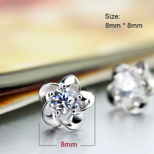 Silver Color Zircon Enamel Flower Earrings