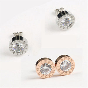Round Shine Diameter Roman Numeral Stud Earrings