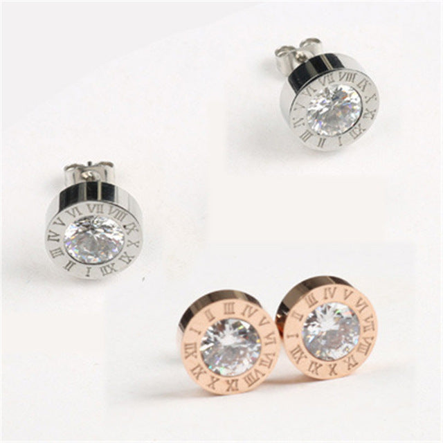 Round Shine Diameter Roman Numeral Earrings