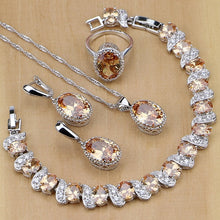 Silver Earrings/Pendant/Necklace/Rings/Bracelet Champagne Zircon Jewelry Sets