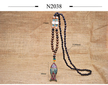 Yumfeel Handmade Nepal  Buddhist Mala Wood Beads Pendant & Necklace Ethnic Horn Fish Long