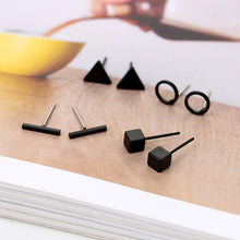 Load image into Gallery viewer, Round Triangle Shaped Silver Gold Black Stud Earrings