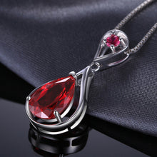 Red Ruby Water Drop Pendant For Women
