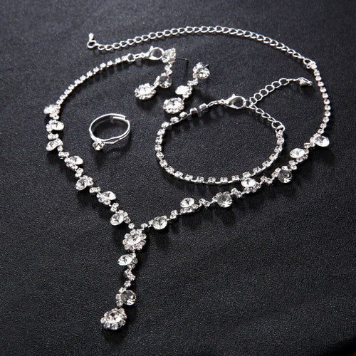 Silver Tone Crystal African jewelry Sets and Earrings