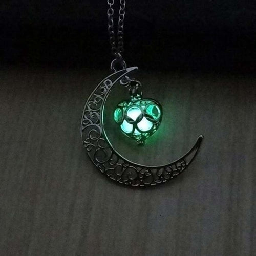 New Silver Plated Glowing Moon Necklace for Halloween - hope2shop