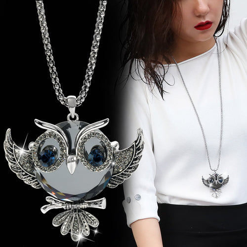Rhinestone Silver Color Classic Owl Necklace with Long Popcorn Chain For Women - hope2shop