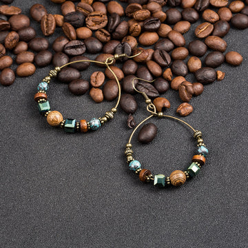 Big circle Vintage metal wooden beads round rings hollow tassel earring