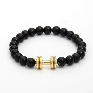 Natural stone bracelets Golden & Black Crown Dumbbells Men's bracelets